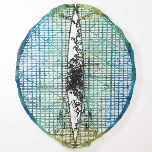 Retiro, 2017, 178 × 150 cm, Bleistift, Graphit, Öl, gerissenes Papier