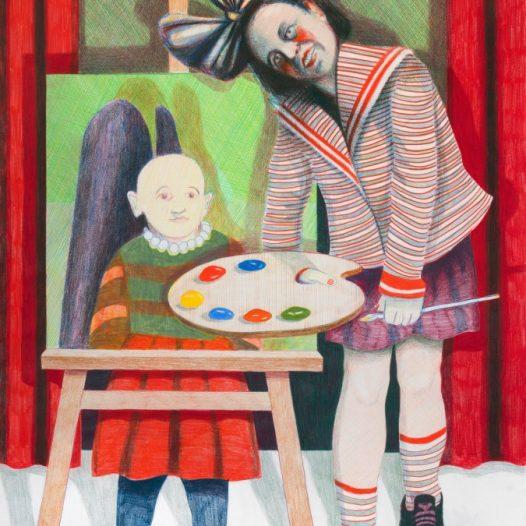 Ivana de Vivanco, Atelierbühne, 2018, 99 x 150 cm, Tusche auf Papier