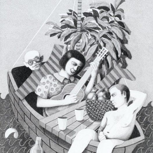 Ivana de Vivanco, Das Narrenschiff I, 99 x 150 cm, Tusche auf Papier