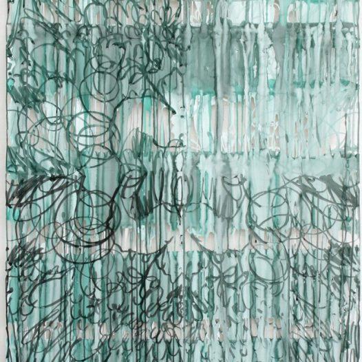 Dorthe Goeden: O.T., 2020, Papierschnitt grün, Tusche, 111 x 85 cm