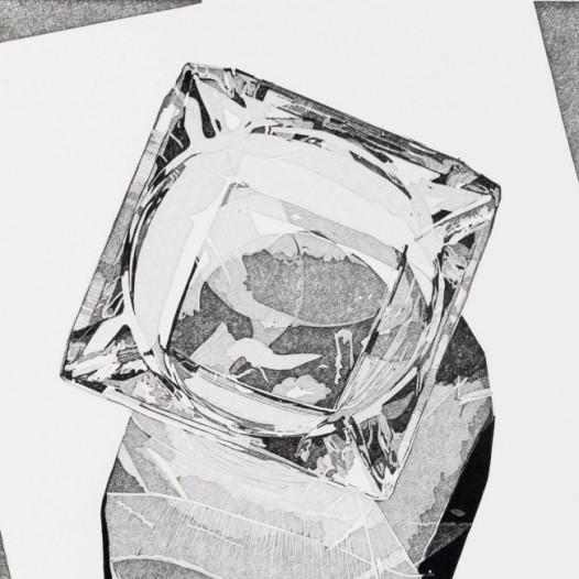 Aschenbecher, 2020, Linolschnitt, Reduktion, 10 Farben, Auflage: 20, Druck: 28 x 20 cm, Papier: 38 x 30 cm