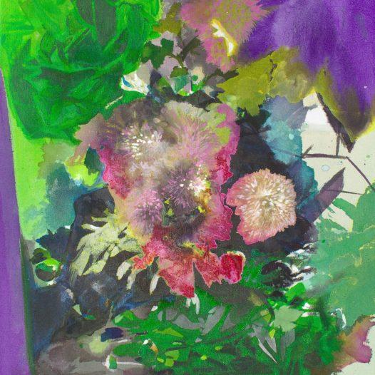 Chaosblüten, 2020, Tusche auf Leinwand, 47 x 37 cm
