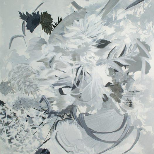 Diffusion, 2021, Tusche auf Leinwand, 100 x 90 cm
