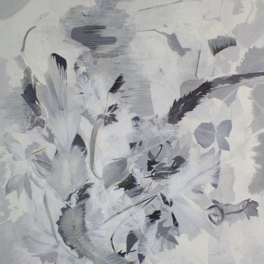 Freisetzung, 2021, Tusche auf Leinwand, 100 x 90 cm