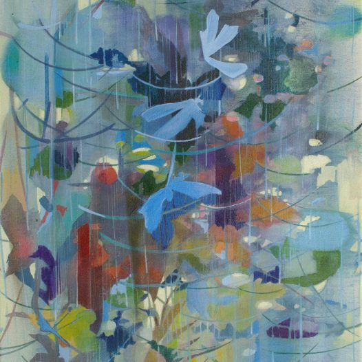 Partikelorchester, 2021, Tusche auf Leinwand, 47 x 37 cm