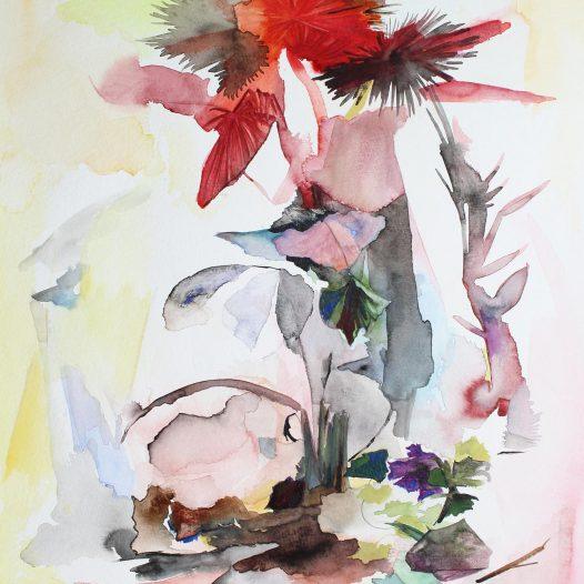 Rote Palme, 2020, Aquarell auf Papier, 40 x 30 cm