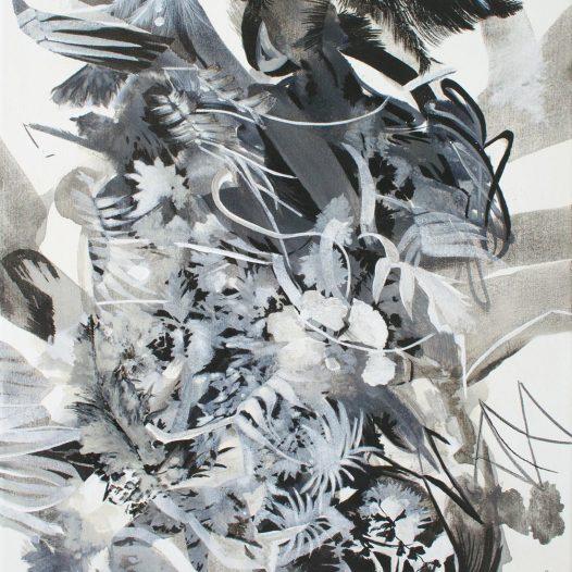 Schlingen, 2021, Tusche auf Leinwand, 47 x 37 cm