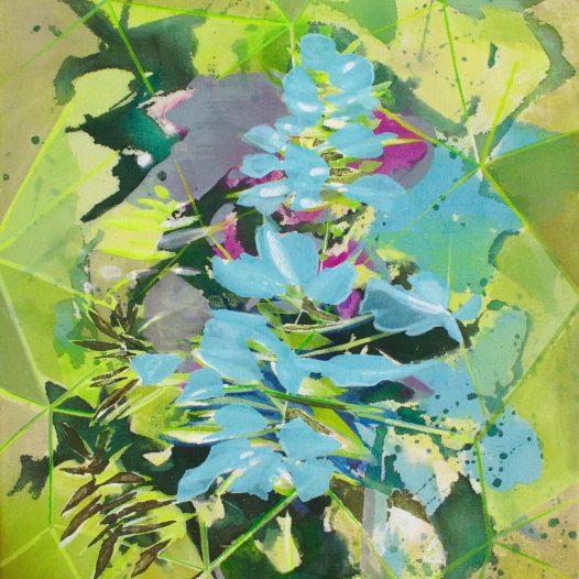 Wölfe, 2021, Tusche auf Leinwand, 47 x 37 cm