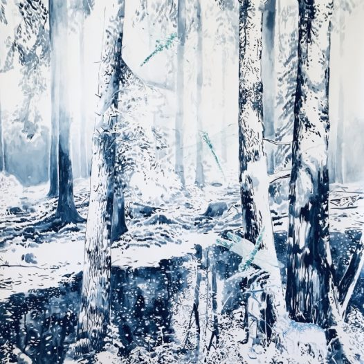 Am Sonntag, 2021, 150 x 120 cm, Tusche auf Papier