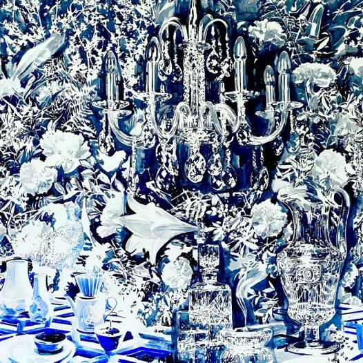 Blaue Stunde, 2021, 115 x 150 cm, Tusche auf Papier