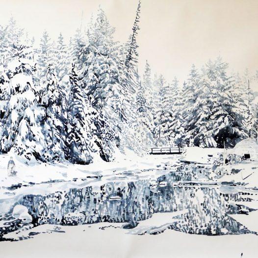 Der Fluss im Winter, 2016, 110 x 150 cm, Tusche auf Papier