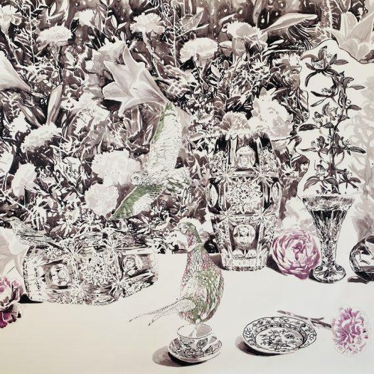 Stillleben in grau, 2021, 120 x 150 cm, Tusche auf Papier