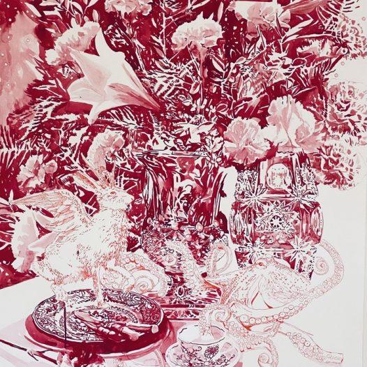 Stillleben mit dem Oktopus, 2021, 100 x 70 cm, Tusche auf Papier
