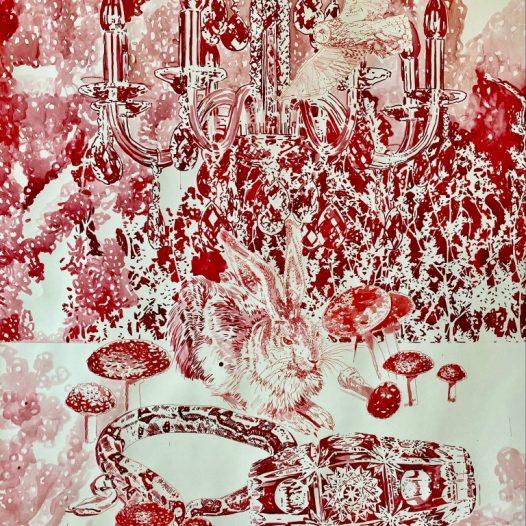 Stillleben mit dem roten Hasen, 2021, 130 x 100 cm, Tusche auf Papier