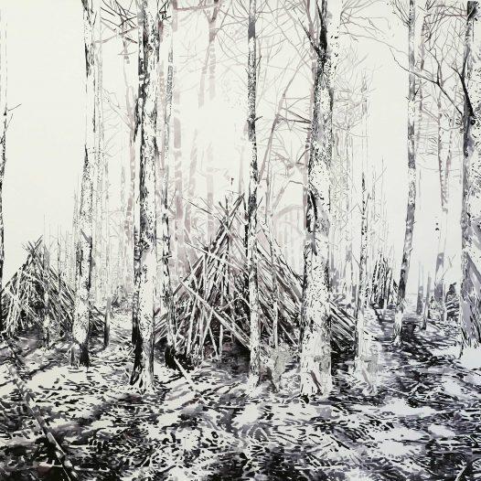 zu dritt, 170 x 150 cm,Tusche auf Papier